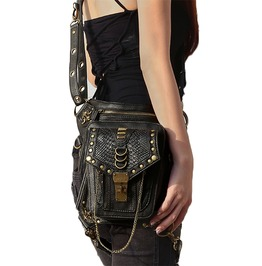 Gothic Punk Cool Leather Motorcycle Shoulder Waist Leg Bag