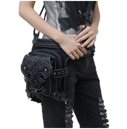 Steam Punk Leather Cross Body Motorcycle Multifunction Waist Bag