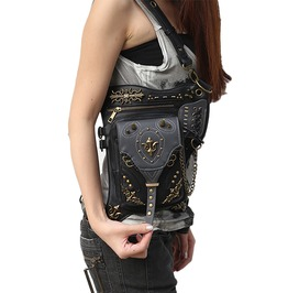 Punk Leather Gothic Cross Body Waist Leg Bag