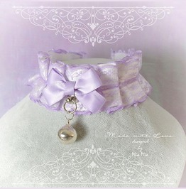 Kitten Pet Play Collar Choker Necklace Lilac Purple Lace Satin O Ring Bow
