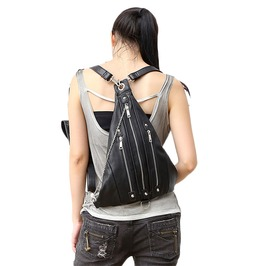 Cool Punk Leather Waist Triangle Leg Bag Woman Backpack