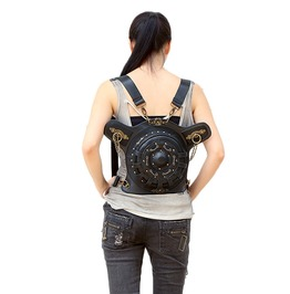European Fashion Punk Shoulder Bag Women Round Backpack