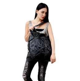 Punk Rock Shoulder Bag Black Gothic Leather Handbag