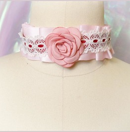 Kitten Play Collar Choker Necklace Pink Satin Rose Lace Kitty Collar
