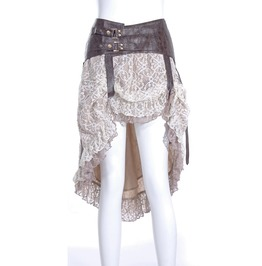 Steampunk White Women's Skirt With Leather Belt