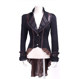 Steampunk Black Women's Long Ruffle Coat