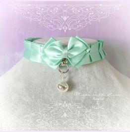 Kitten Pet Play Collar Choker Necklace Mint Green Satin O Ring Bow Bell