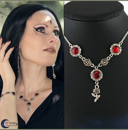 Handmade Gothic Roses Necklace With Handmade Glass Stones