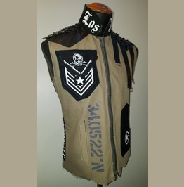 Los Angeles Tribute Military Khaki Punk Rock Goth Slim Fit Jacket Vest