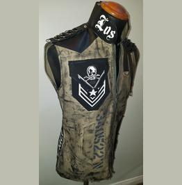 Los Angeles Distressed Military Khaki Punk Rock Goth Slim Fit Jacket Vest