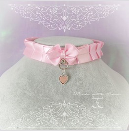 Kitten Pet Play Cat Collar Costume Necklace Baby Pink O Ring Bow Heart