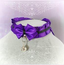 Kitten Pet Play Collar Bdsm Necklace Royal Purple Black Satin O Ring Bell