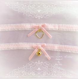 Kitten Play Cat Collar Choker Necklace Baby Pink Lace Velvet Bow Gold Heart