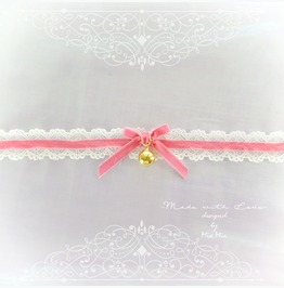 Kitten Pet Play Cat Collar Choker Necklace Pink Velvet Ivory Lace Bow Bell
