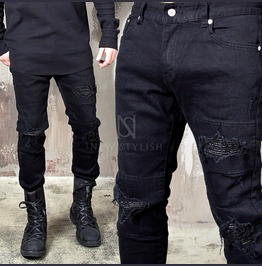 Pintuck Leather Destroyed Black Slim Jeans 327