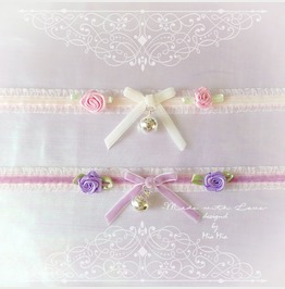 Kitten Play Cat Collar Choker Necklace Baby Pink Lace White Lilac Purple