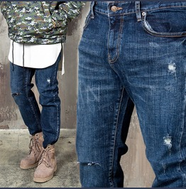 Distressed Washed Denim Slim Jeans 325