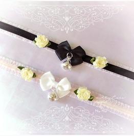 Kitten Collar Choker Necklace Baby Pink Lace White Black Velvet Bow Rose