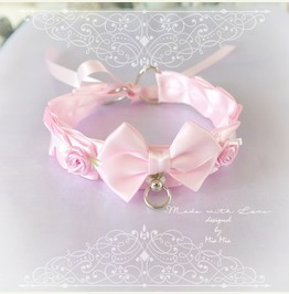 Kitten Pet Play Cat Collar Costume Choker Necklace Baby Pink White Satin