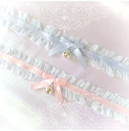 Kitten Play Cat Collar Choker Necklace Pale Blue Lace Ruffles Pink Bow Bell