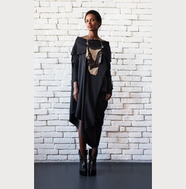 Asymmetric Black Dress/Maxi Black Dress/Loose Casual Dress/Black Kaftan