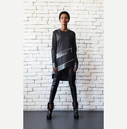 Long Sleeve Black Tunic/Leather Detail Stripe Top/Black Asymmetric Tunic