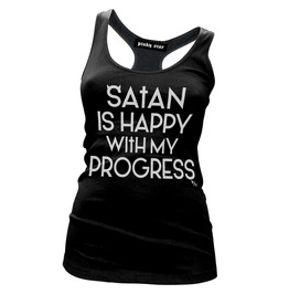 Satan Is Happy With My Progress Womens Tank Top
