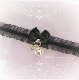 Kitten Pet Play Cat Collar Choker Necklace Black Lace Bow Bell Heart Kitty