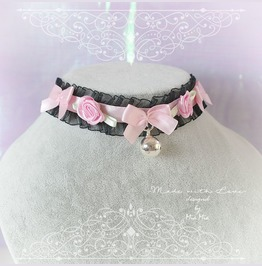 Kitten Pet Play Cat Collar Choker Necklace Black Lace Pink Satin Bow Bell R