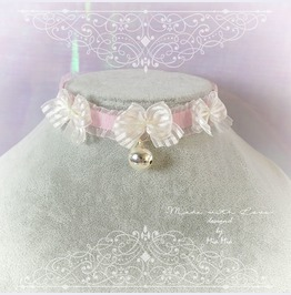 Kitten Pet Play Cat Collar Choker Necklace Pink Lace White Bow Bell Kitty