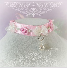 Kitten Pet Play Cat Collar Costume Choker Necklace Baby Pink R Ose Bow