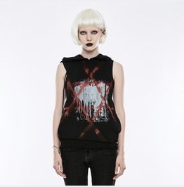 Authentic Punk Rave Gothic Pentegram Printed Hooded Sleeveless Top