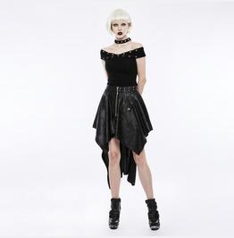 Authentic Punk Rave Gothic Rock Festival Asymmetric Black Skirt