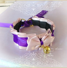 Kitten Pet Play Cat Collar Choker Necklace Pink Purple Bow Gold Bell Bow
