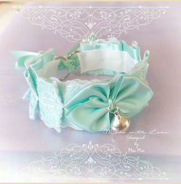 Kitten Pet Play Cat Collar Choker Necklace Mint Green White Lace Bell Bow K