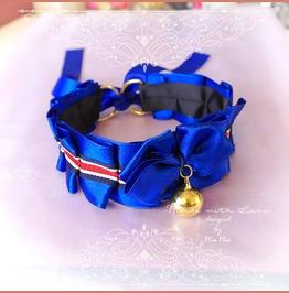 Kitten Pet Play Cat Collar Choker Necklace Navy Royal Blue Bow Gold Bell