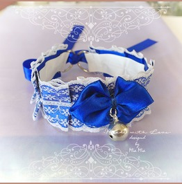 Kitten Pet Play Cat Collar Choker Necklace Navy Royal Blue White Lace Bow