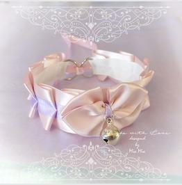 Kitten Pet Play Cat Collar Choker Necklace Pink Lilac Satin Bow Bell Kitty