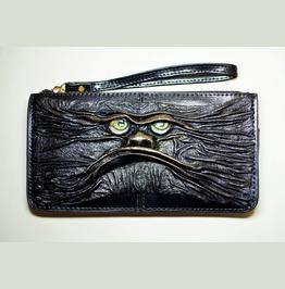 Genuine Leather Long Black Clutch Zipper Cowhide Purse Wallet Card Holder