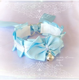Kitten Pet Play Cat Collar Choker Necklace Baby Blue White Satin Bell Bow K