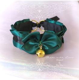 Kitten Pet Play Cat Collar Choker Necklace Royal Green Black Satin Bell Bow