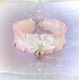 Kitten Cat Play Collar Choker Necklace Baby Pink Satin Ruffles White Bow Be