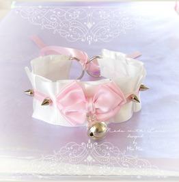 Kitten Pet Play Cat Collar Choker Necklace Pink White Satin Bell Bow Spikes