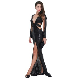 Deep V Long Sleeve Sequin Hollow Out Slit Party Dress