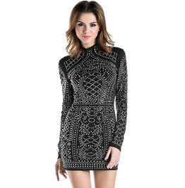 High Neck Long Sleeve Bodycon Geometric Rhinestone Party Dress
