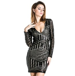 V Neck Bodycon Geometric Design Sequin Long Sleeve Short Party Dress