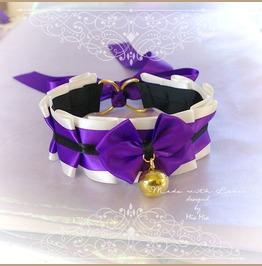 Kitten Pet Play Cat Collar Choker Necklace Beige Purple Black Satin Bow Gol