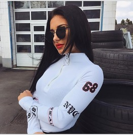 Fall Fashion Women Long Sleeves Nyc 68 Zipper Ring Catsuit Romper T2277