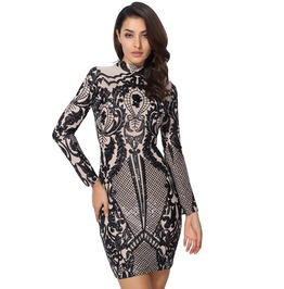 Black Silver Applique Sequins Nude Lining Bodycon Long Sleeve Party Dress