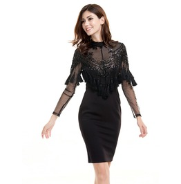 Vintage Retro Lace Sequined Tassels Bodycon Party Dress Black Nude